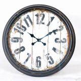 Décor de mur d'horloge de mur en métal de type de pays seul