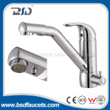 New Kitchen Double Handle Marmoreado Surface Brass Three-Way Faucet Faucet