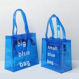 Bolsa transparente das mulheres tamanho azul do PVC do grande (A088)