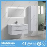 Gabinete de banheiro de pintura branca de alto brilho com armário lateral e lâmpada LED