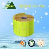 Étiquette auto-adhésive thermique lustrée élevée enduite et collant d'argent mat