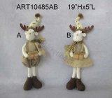 Мальчик украшения рождества стоящие & девушка Reindeer-2asst