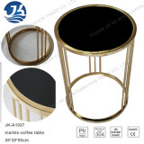 Lato di marmo rotondo naturale nero o tavolino da salotto dell'acciaio inossidabile del metallo