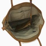 青い洗浄されたクラフト紙の革ハンドルのショルダー・バッグ(16A085-3)