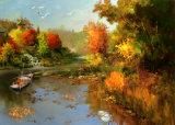 Ga Roeien bij het Landschap van de Tijd van de Schemering de Zonsondergang en het Mooie Meer ModelNr: Hx-4-047