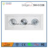 PANNOCCHIA 5W&times di Bridgelux; Indicatore luminoso della griglia delle 3 Tre-Teste LED con 3 anni di garanzia