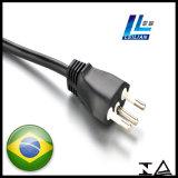 Fiche de cordon d'alimentation de l'homologation 3-Pin Brésil de TUV pour l'appareil ménager