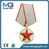 Heiße Verkäufe kundenspezifische Metallmilitärmedaille mit kurzem Farbband