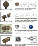 Potência de bronze impermeável ETL ajustável do ângulo de feixe da luz 12V do ponto