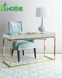 Material decorativo del hogar nuevo diseño Antiqued inoxidable consola de mesa con espejo