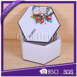 Wholsale kundenspezifischer weißer Hexagon-Luxuxkasten mit Blumen-Entwurf
