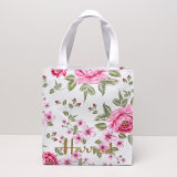 Blumenmuster-kleine weiße Einkaufstasche (H036)