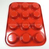 12 tazas antiadherentes del mollete de la cacerola del molde de la torta