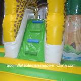 Videur combiné gonflable de beau stationnement de safari avec le tremplin gonflable de glissière (AQ01583)