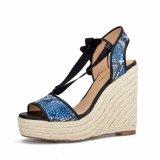 (Donna-in) sandali Lace-up del cuneo della corda delle donne dell'alto tallone del reticolo del serpente
