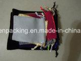 Saco lateral dobro preto da jóia de veludo/saco presente da promoção