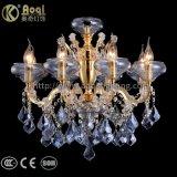 Luzes de cristal azuis do candelabro da água dourada
