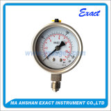 Calibre de pressão de aço Manómetro-Inoxidável enchido líquido do Calibrar-Petróleo da pressão da câmara de ar de bordão