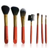 Spazzole rosse di trucco dei capelli neri della maniglia delle strumentazioni di bellezza delle 7 parti