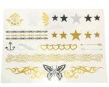 Etiqueta engomada temporal impermeable del tatuaje de la estrella metálica de la mariposa del oro