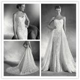 敏感なレースの恋人の人魚のOverskirt (夢100054)が付いている花嫁のウェディングドレス