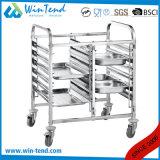 Le file della cucina 6 dell'acciaio inossidabile si raddoppiano carrello di trasporto di righe per la vaschetta della GN 1/1