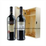 Solo rectángulo doble sólido del vino del regalo del estante del vino por la elegancia de Wood Case
