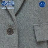 Gris botón de manga larga voltear abajo bolsillos de collar de moda señoras abrigo
