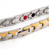 Bracelet négatif d'acier inoxydable d'ion de promotion avec de l'or plissé pour des femmes