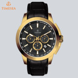 クロノグラフの腕時計の人3ATMは本革の水晶Watch72231を防水する