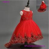 Nach Maß schöne blaue Blumen-Mädchen-Kleider für Hochzeits-recht formaler Mädchen-Kleid-netter Satin-geschwollenen Tulle-Festzug-Kleid-Sprung