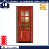 Porta de madeira de vidro interior laminada PVC de madeira composta do painel