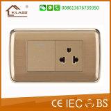 Soquete elétrico dourado padrão americano do interruptor do impulso da cor 118*72.5mm