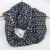 Blauer Twill-Drucken-Schal für Frauen-Form-Zusatzgeräten-Schale