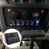 Gruppe des Boots-Auto-Marineschalter-Panel-6, LED-Schalthebel-Leerzeichen-Schalter-Panel mit Zigaretten-Kontaktbuchse-u. USB-Energien-Aufladeeinheit der Sicherungs-&Digital Voltmeter+12V