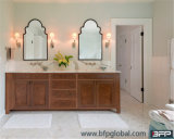 Nueva tallado del estilo de América armario del baño con el lavabo doble y espejo