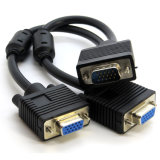 2 в 1 мужчине VGA Pin VGA 15 к двойному женскому кабелю видеоего Splitter переходники y монитора 2