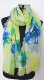 Elegant Aqua Flourish Printing Polyester Pareo / Lady Scarf (HWBPS100)