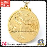 3Dデザインの2017年の金張りの金属メダル