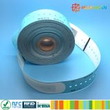 Wristband descartável Printable clássico de papel do vinil MIFARE EV1 1K RFID para o hospital