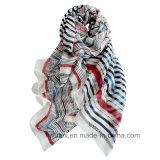 BSCI Fabrik-Form-horizontaler Streifen gedruckter Polyester-Schal (HWBPS103)