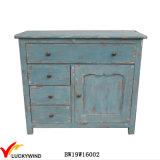 Sideboard blu afflitto dell'annata della sala da pranzo di legno solido