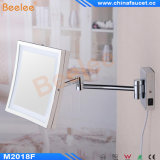 Folding carré Ajustable Wall Bathroom Cosmetic Mirror avec l'éclairage LED
