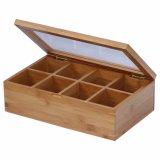 Venta al por mayor de madera de bambú de encargo del rectángulo de almacenaje de la caja de embalaje del té