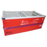 congelador profundo do console do gabinete da porta 610L deslizante para o supermercado