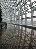 目に見えるアルミニウムフレームのガラスカーテン・ウォールの建物
