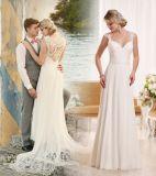 Schutzkappe Sleeves Brautkleid-Spitze-Chiffon- Strand-Hochzeits-Kleider Z82017
