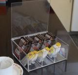 透過工場習慣。 着色されたアクリルのコーヒー、ティーバッグの収納箱、ティーバッグの容器