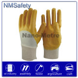 Перчатка желтого цвета блокировки хлопка Nmsafety покрынная нитрилом работая