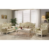 Ledernes Sofa stellte mit hölzernem Sofa-Rahmen ein (508)